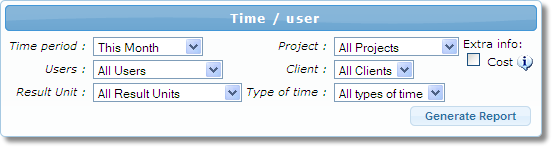 Filtration of the timesheet report