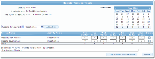 Week by week time sheet enables quick and easy time registration of time spent on projects